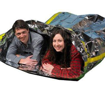 """Emergency Survival Mylar Thermal 2 Person Sleeping Bag - Accommodates 2 Adults - 64"""" X 87""""- by Grizzly Gear"""