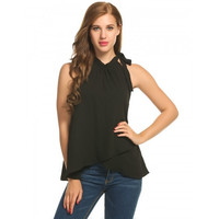 Women Casual Sleeveless O Neck Solid Loose Chiffon Shirt Tank Top