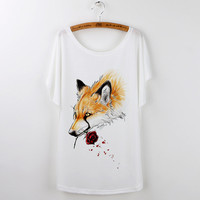 New Design Summer Tshirt Women Casual Animal Tops Cute Fox Print Funny T-Shirt For Lady White Cartoon Tee Shirt Femme Camiseta
