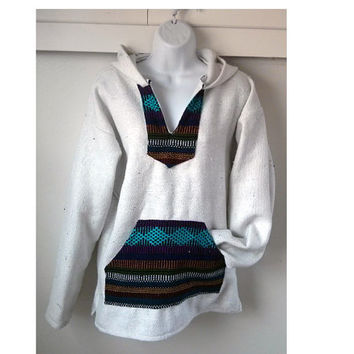 Mexican Baja Hoodie- Small/ urban outfitters/ hippie / boho/ gypsy/ surfwear / surfer / pullover / drug rug/apparel/ gift / White