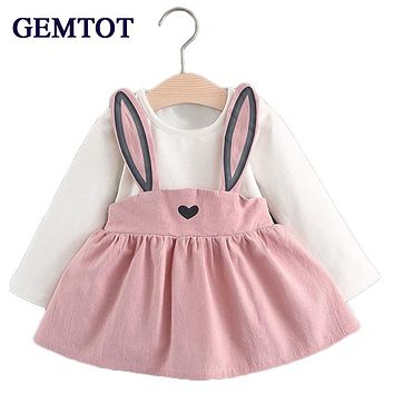 GEMTOT Baby Dresses 2017 Summer New Baby Girls Clothes Lace Bow tie Mini A-Line Baby Princess Dress Cute Cotton Kids Clothing