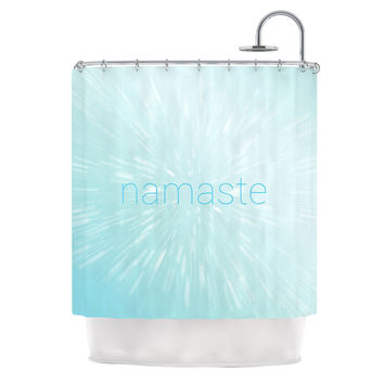 "KESS Original ""Namaste"" Blue Shower Curtain"
