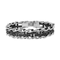Two Tone Ion-Plated Stainless Steel Sideways Cross Railroad Bracelet - Men (Black)