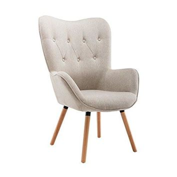 LSSBOUGHT Stylish Fabric Accent Chair Modern Muted Fabric Arm Chair (Beige)