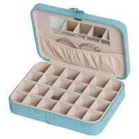 Mele & Co. Maria Women's Plush Fabric Jewelry Box with Twenty-Four Sections - Aqua
