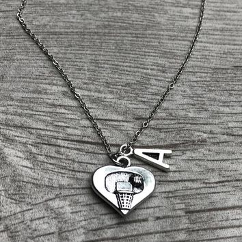 Personalized Basketball Heart Hoop Necklace with Letter Charm