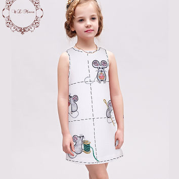 Girl Dress Kids Clothes 2016 Summer Kids Dresses for Girls Clothes Mouse Pattern Toddler Dress with Crystal Robe Princesse Fille