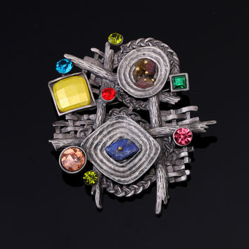 AlooWay Retro high-grade natural stone Brooch geometric shaped Brooch pop broochs and winter accessories