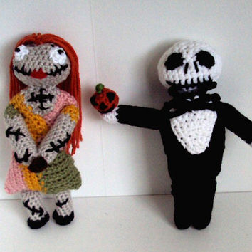 Crocheted Jack Skellington and Sally Two-Pack - Nightmare Before Christmas Inspired Dolls