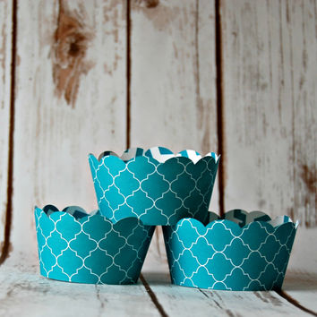 Spanish Tile Cupcake Decorations, Reversible Cake Wraps, Aqua Cupcake Wrappers (set of 6)