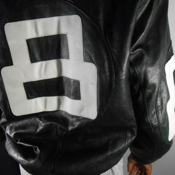 8 Ball Jacket/ Leather Bomber/ 80's/ 90's/ Hip Hop/ Black & White
