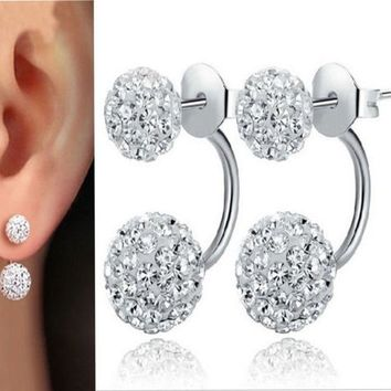 Sterling Silver Double Beads Crystal Stud Earring