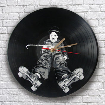 Charlie Chaplin painted retro vinyl record clock, gift for classic movie lover