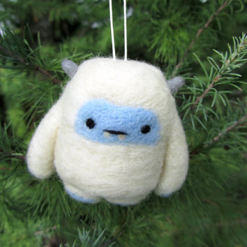Yeti, Needle Felted Yeti Ornament, Abominable Snowman, Christmas Ornament, Christmas Decoration, Wool Felt Ornament, Cute Yeti, Holiday Gift