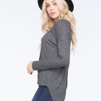 Full Tilt Essential Womens Hi-Low Tunic Charcoal  In Sizes