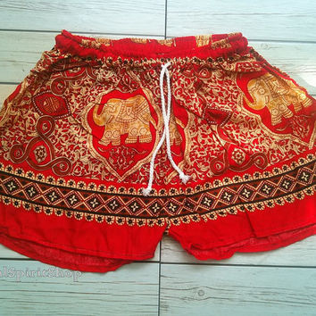 Red Gold Elephants Print Shorts Ikat Summer Beach Fashion Tribal Clothing Aztec Ethnic Boho Cloth Cute Comfy Wear with Tank top or Jeans