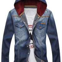 Hooded Double Pockets Long Sleeve Denim Shirt