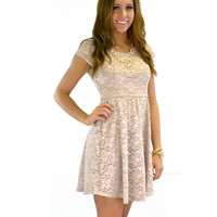 SZ LARGE Chai Latte Lace Dress
