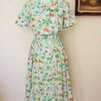 Vintage 1950s Cay Artley Shirtwaist Dress, Bow Collar