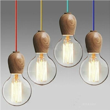 Vintage pendant light Oak Wood Retro lamp 120cm color wire E27 E26 socket wood lampholder Hanging light fixture.no light bulbs
