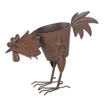 Rooster Planter With 1 Solid Feather