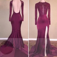 Long Sleeves Applique Mermaid Train Burgundy Prom Dresses