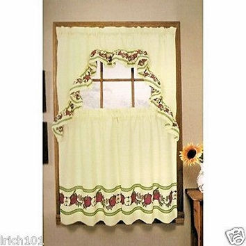 "3 Piece Red Delicious Apples Kitchen Curtain Set With Ruffled Swag and 36""L Tiers"