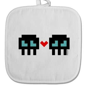 8-Bit Skull Love - Boy and Boy White Fabric Pot Holder Hot Pad