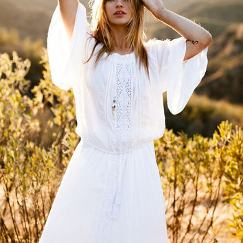White Gypsy Off Shoulder Frill Top - Crop Top - White or Black, Beach Kaftan Top, White Lace Blouse Shirt
