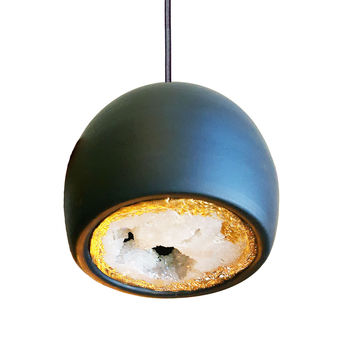 LED Geode Brass Leafed Gem & Porcelain Mini Matte Black Clay Pendant Light