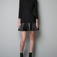 DRESS WITH FAUX LEATHER FRILL - Dresses - Woman - ZARA United States