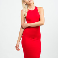 Classic Red Midi Dress