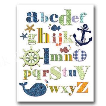 Nautical nursery alphabet poster abc print ocean wall art kids room decoration green blue nursery decoration baby shower gift nursery whale