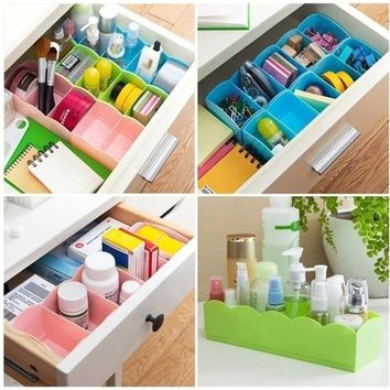 5 Cell Plastic Underwear Bras Sock Ties Organizer Storage Box Desk Drawer Closet SLE
