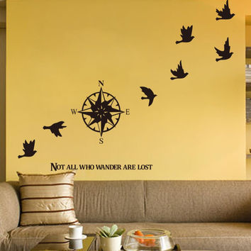 Compass wall sticker home decals decor removable waterproof SM6
