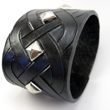 Black Leather Celtic Knot Hand Carved 8 oz leather cuff bracelet with pyramid studs in silver