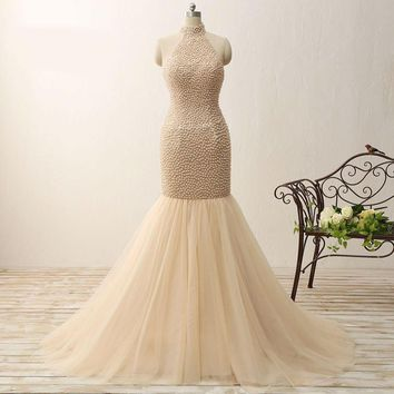 Mermaid High collar Beautiful Fully Pearls Tulle Special Occasion Prom Dress Long