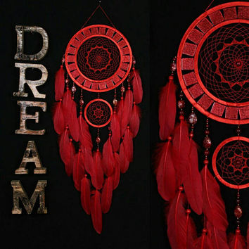 Dreamcatcher red Dreamcatcher mosaic wall native american Large red Dreamcatchers boho Indian talisman gift wall hanging boho red wall decor