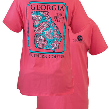 Southern Couture Georgia Preppy Paisley State Pattern Peach State Girlie Bright T Shirt