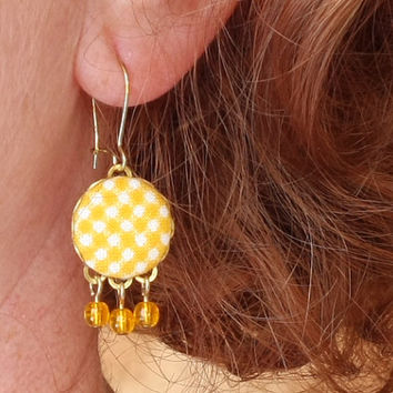 Dangle Earrings - Autumn Yellow Gingham - Yellow and White Fall Fabric Covered Buttons Earrings with Czech Glass Beads