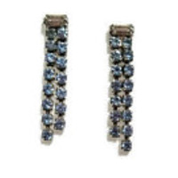 Light blue rhinestone 80's earrings - vintage rhinestone jewelry