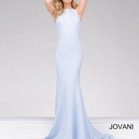 Jovani Fitted Crisscross Back Dress- Blue