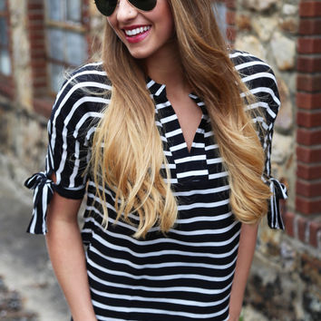 Bows Over Bros Striped Blouse