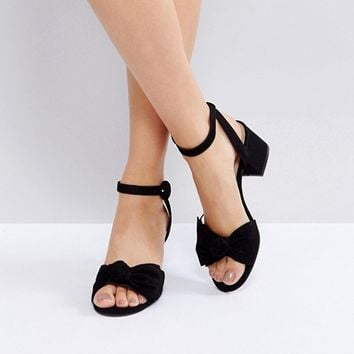 ALDO Beautie Black Mid Heeled Knot Front Sandals at asos.com
