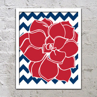 Bold Colorful Dahlia Flower Chevron Red White Blue Decor Wall Art Poster Nursery Print Bedroom Bathroom