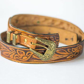 Tooled Leather Waist Belt Vintage. Tan Western Belt. Floral Pattern Belt. Cowgirl Belt Gift. Hippy Belt Caramel. Boho Woman Belt Hand Made