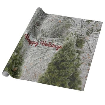 Happy Holidays Tranquil Icy Branches Wrapping Paper