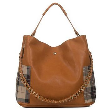 Melissa Plaid Pocket 2in1 Purse - Tan
