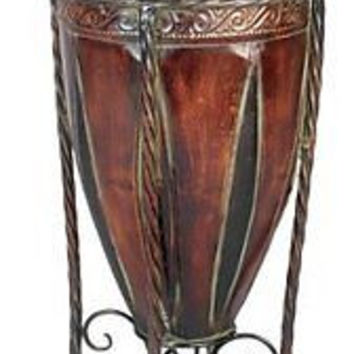 Tuscan Old World Classic Design Planter Vase Stand Decor Room Metal Modern