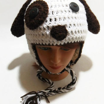 Crochet Puppy Dog Ear Flap Beanie Hat in White and Brown with Floppy Ears